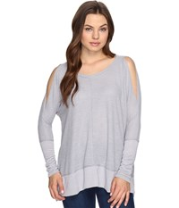 Culture Phit Elise Long Sleeve Top With Open Shoulder Silver Women's Dress