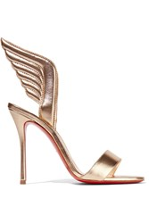 Christian Louboutin Samotresse 100 Metallic Leather Sandals Gold