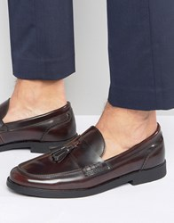 New Look Loafers With Tassels In Burgundy Dark Burgundy Red