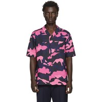 Valentino Pink And Navy Camo Shirt
