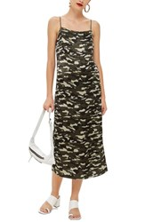 Topshop Camo Midi Slipdress Green Multi