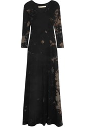 Raquel Allegra Tie Dyed Cotton Blend Jersey Maxi Dress Black
