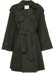 Chanel Vintage Belted Midi Trench Coat Black