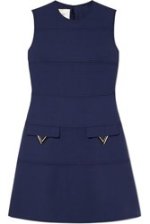Valentino Embellished Grain De Poudre Wool Dress Blue