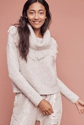 Anthropologie Fringed Cowl Pullover Light Grey