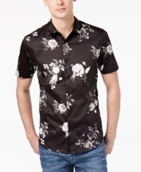 Guess Men's Floral Stretch Shirt Dark Muse Print Jet Black