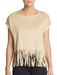 Romeo And Juliet Couture Fringed Faux Suede Crop Top Tan