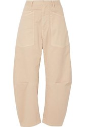 Nili Lotan Shon Cotton Blend Twill Tapered Pants Beige