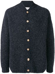Ymc Long Sleeve Fitted Cardigan Blue