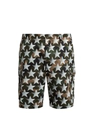 Valentino Camustars Print Cotton Drill Shorts Green Multi