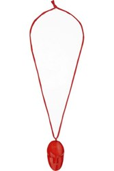 Simon Miller Face Enamel And Metal Necklace Red