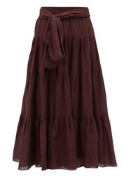 Loup Charmant Demeter Tiered Cotton Midi Skirt Dark Purple