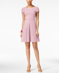 American Living Striped A Line Dress Only At Macy's Maui Pink White
