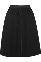 Tomas Maier Cotton Poplin Midi Skirt Black