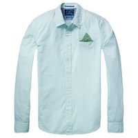Scotch And Soda Long Sleeve Fixed Pochet Shirt Green