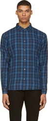 Marc By Marc Jacobs Blue And Grey Plaid Flannel Shirt
