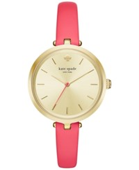 Kate Spade New York Women's Holland Neon Geranium Leather Strap Watch 34Mm Ksw1135 Gold