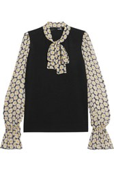 Love Moschino Pussy Bow Stretch Knit And Floral Print Chiffon Blouse Multi