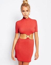 The Ragged Priest High Neck Dress With Cut Outs And D Ring Detail Rust Red