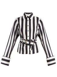 Marques Almeida Striped Exaggerated Cuffs Cotton Poplin Shirt Black White