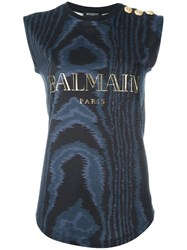 Balmain Sleeveless Logo T Shirt Blue