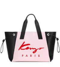 Kenzo Essential Large Printed Canvas And Leather Tote Black