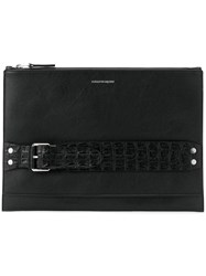 Alexander Mcqueen Strap Detail Clutch Men Leather One Size Black