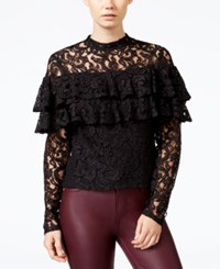 Chelsea Sky Lace Cutout Back Ruffled Top Only At Macy's Black