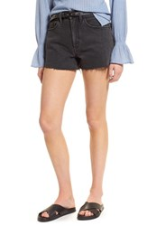 Treasure And Bond Foster High Waist Cutoff Boyfriend Denim Shorts Blacktop Dark