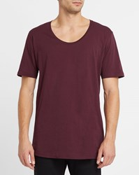 Iriedaily Dark Purple Long Low Round Neck T Shirt