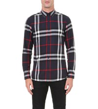 Burberry Regular Fit Checked Cotton Shirt Navy