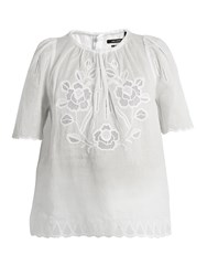 Isabel Marant Araza Short Sleeved Embroidered Lawn Top White