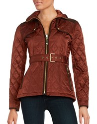 Vince Camuto Faux Suede Trimmed Quilted Jacket Rust