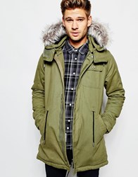 Native Youth Parka With Faux Fur Hood Green
