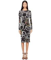 Preen Cherry Long Sleeve Stretch Crepe Dress Witch Ring Black Women's Dress Multi