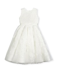 Joan Calabrese Sleeveless Embroidered Tulle Special Occasion Dress Ivory Size 4 14