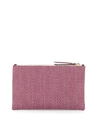 Lauren Merkin Medium Zip Top Raffia Clutch Pink