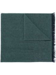 Kiton Fringed Edge Scarf Green