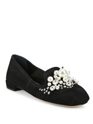Miu Miu Jeweled Suede Loafers Black