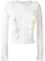 Manoush Ruffle Cable Knit Jumper White