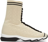 Fendi Beige Sock High Top Sneakers