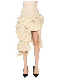 Jacquemus Pleated Fans Cotton Twill Midi Skirt