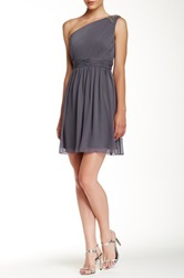 Jessica Simpson One Shoulder Pleated Dress Gray