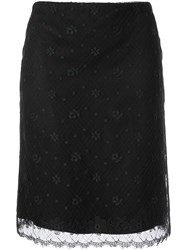 Chanel Vintage Cc Logo Lace Skirt Brown
