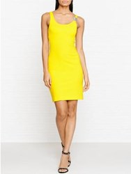 Versus By Versace Lion Detail Bodycon Dress Yellow