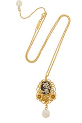 Dolce And Gabbana Cameo Gold Plated Resin Necklace One Size