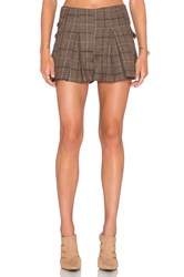 J.O.A. Side Buckle Plaid Pleated Short Brown