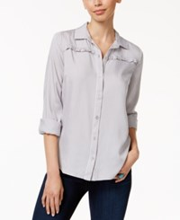 G.H. Bass And Co. Gingham Print Ruffled Shirt Grey Multi