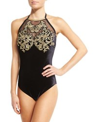 Gottex Velvet High Neck One Piece Swimsuit Black Gold