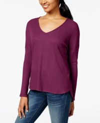 One Clothing Juniors' Thermal Knit High Low Tunic Top Eggplant